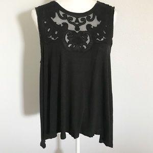 Free People black mesh lace sleeveless top